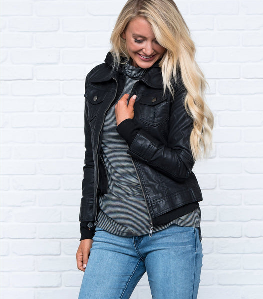 Zip in Zip out Pleather Bomber