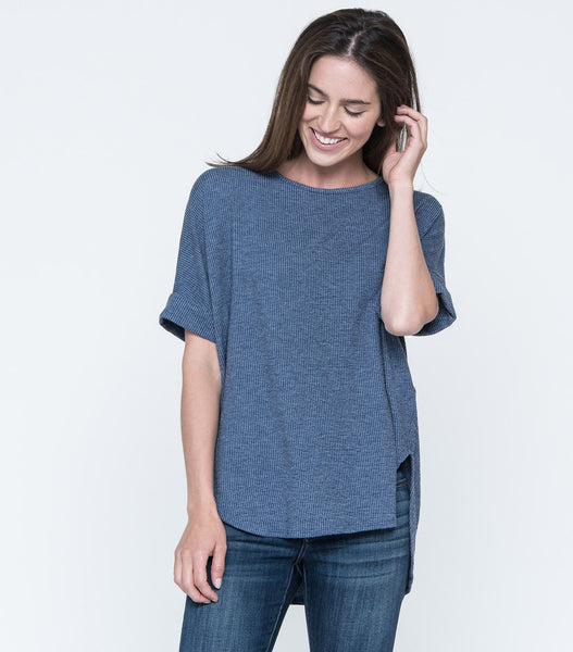 Oversized Cuff Sleeve Plat Back Top