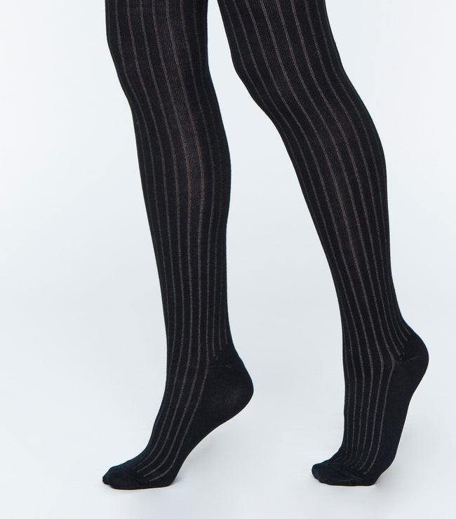 Color Ribbed Cotton Tights