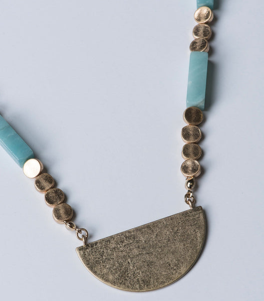 Wood & Stone Bead Necklace
