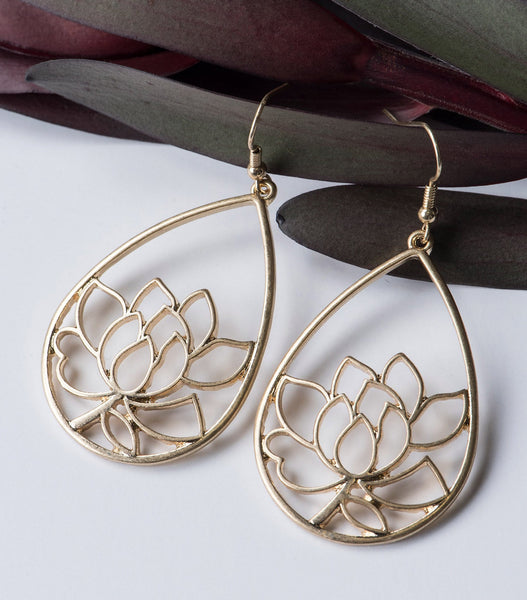 Lotus Drop Earrings