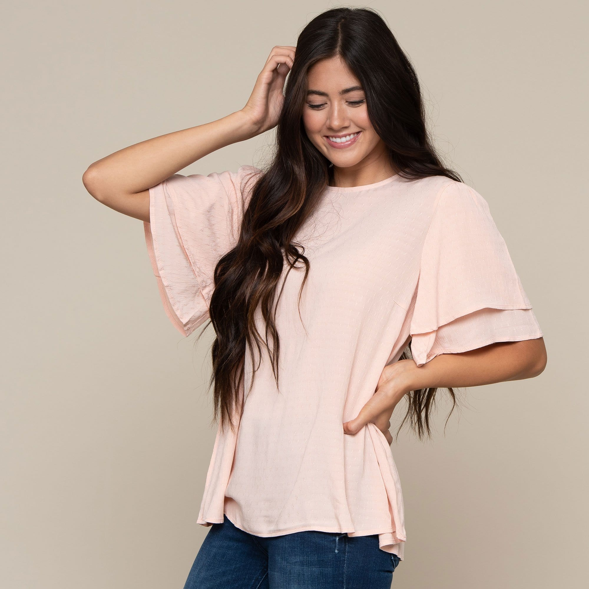 Textured Double Ruffle Sleeve Top