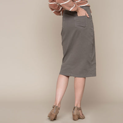 Button Front Pocket Skirt