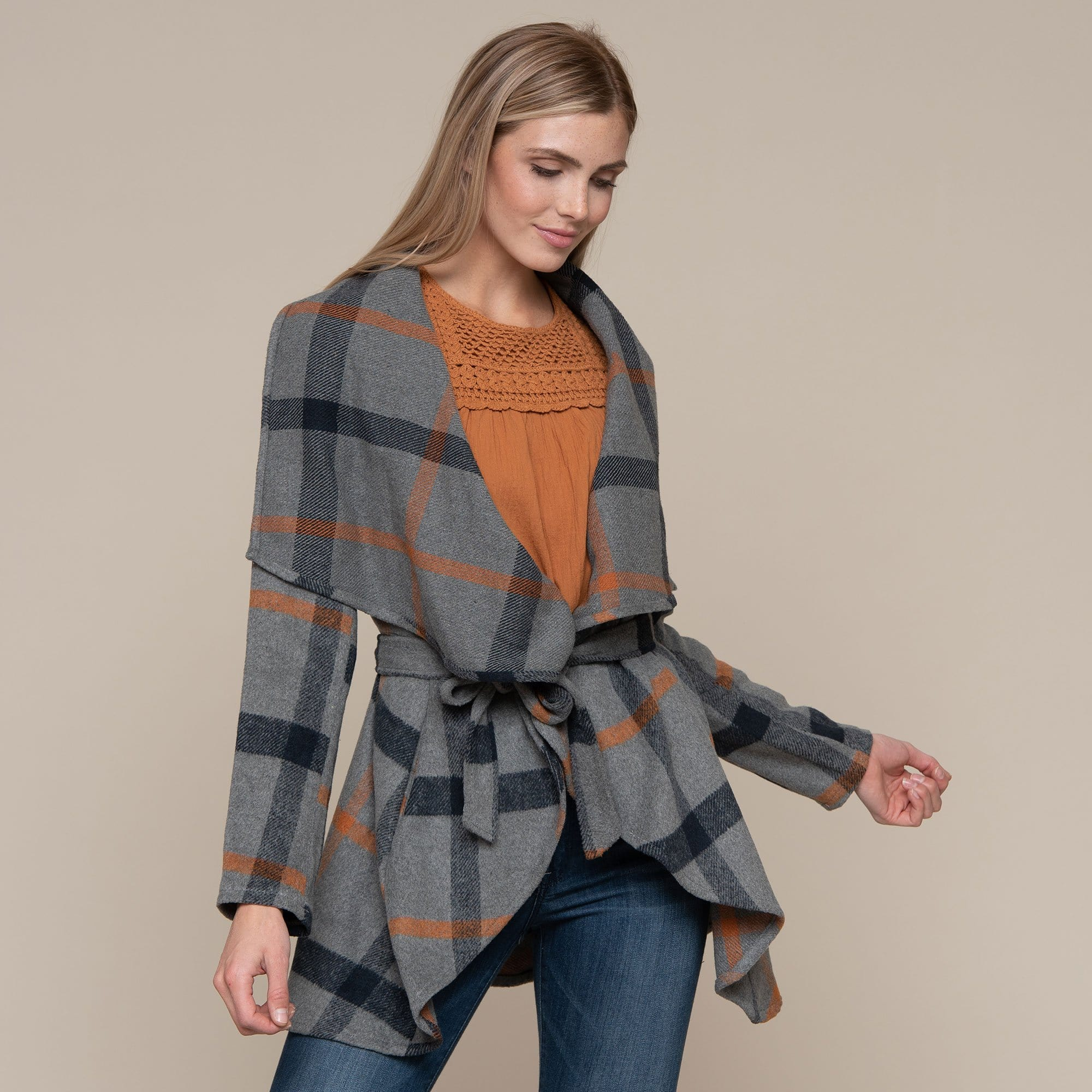 Belted Plaid Jacket