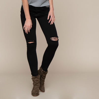 Busted Knee Black Skinny by KanCan