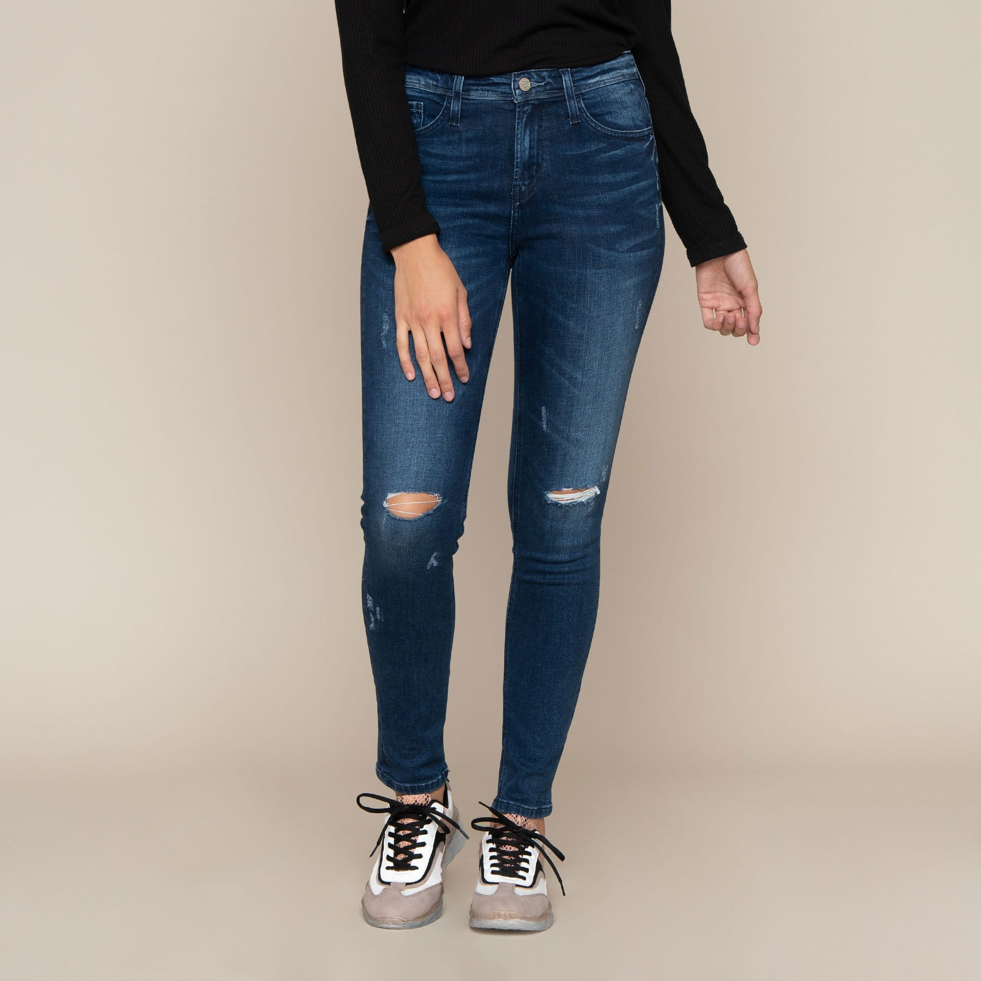 High Rise Distressed Skinny by Flying Monkey