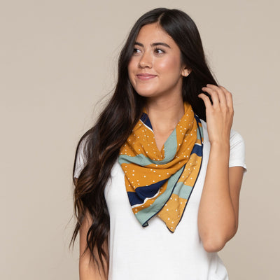 Mixed Print Square Scarf