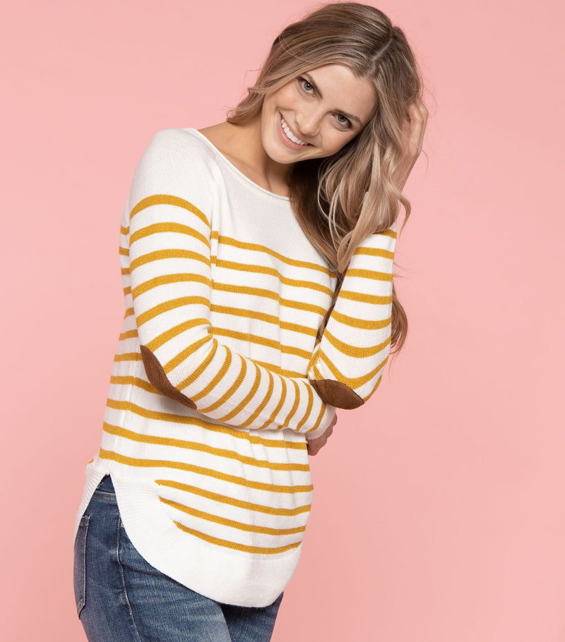 Stripe Elbow Patch Sweater