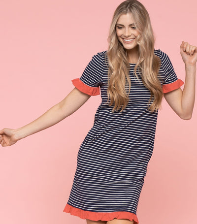Contrast Ruffle Stripe Dress