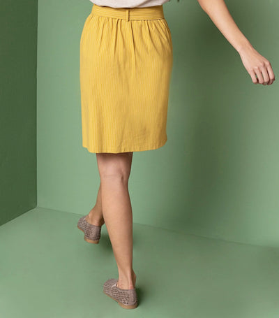 Belted Button Front Skirt