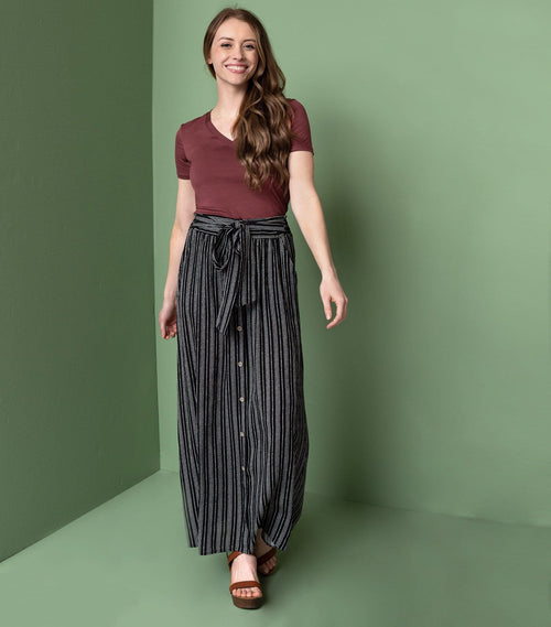 Striped Tie Front Maxi Skirt