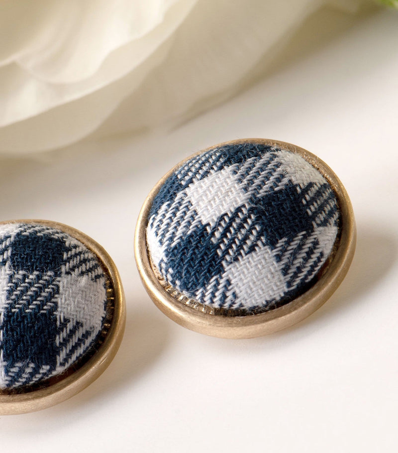 Gingham Disc Earrings