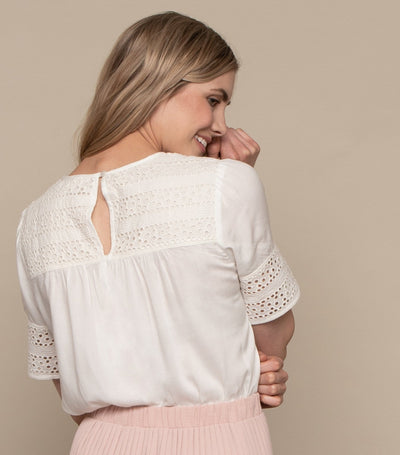Lace Contrast Top