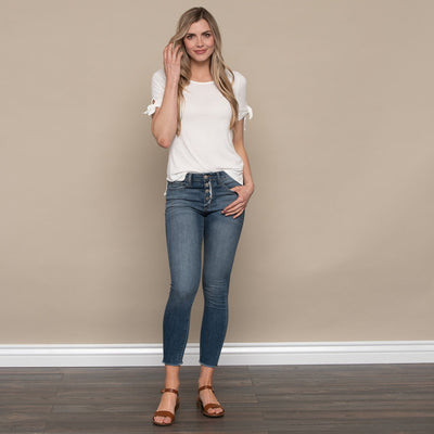 Button Up Ankle Skinny Jean by Flying Monkey