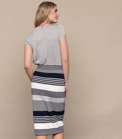 Striped Drawstring Midi Skirt