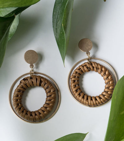 Wicker Double Hoop Earrings