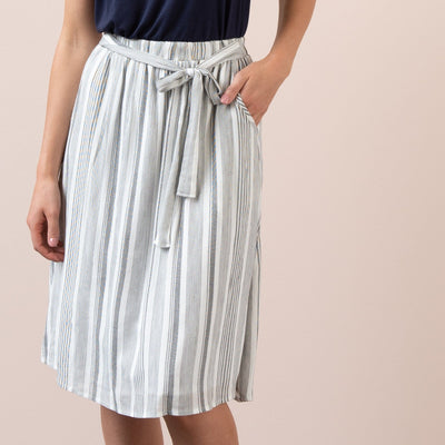 Striped Tie Front Skirt