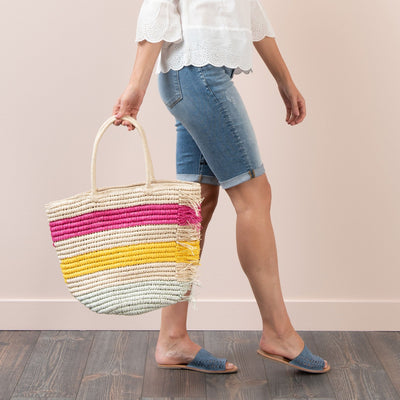Striped Straw Bag