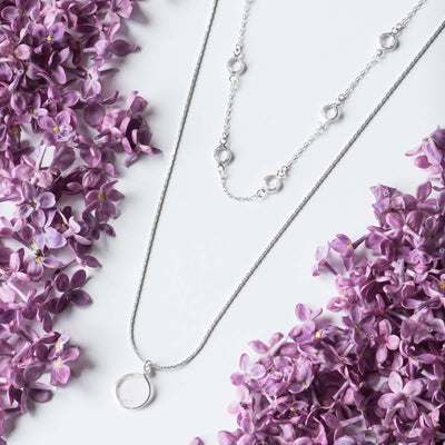Crystal Disc 2 Piece Necklace Set