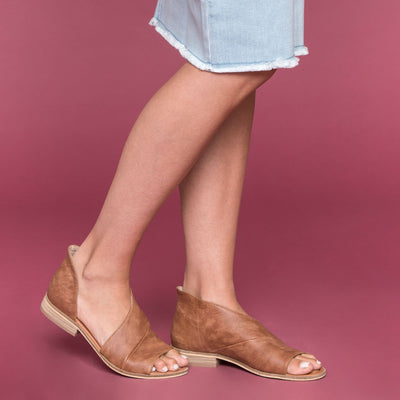 Lotus Open Toe Flat