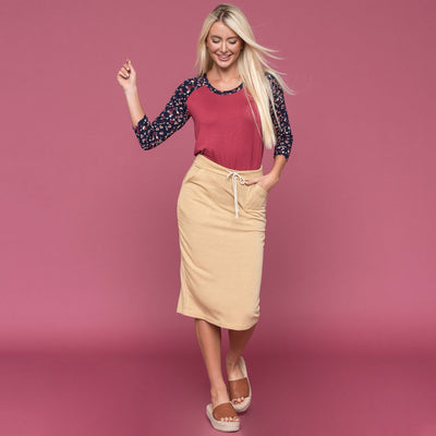 Drawstring Skirt with Pockets