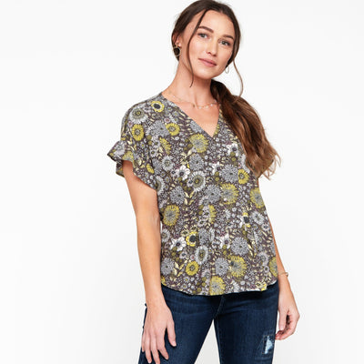 Ruffle Sleeve Button Front Blouse