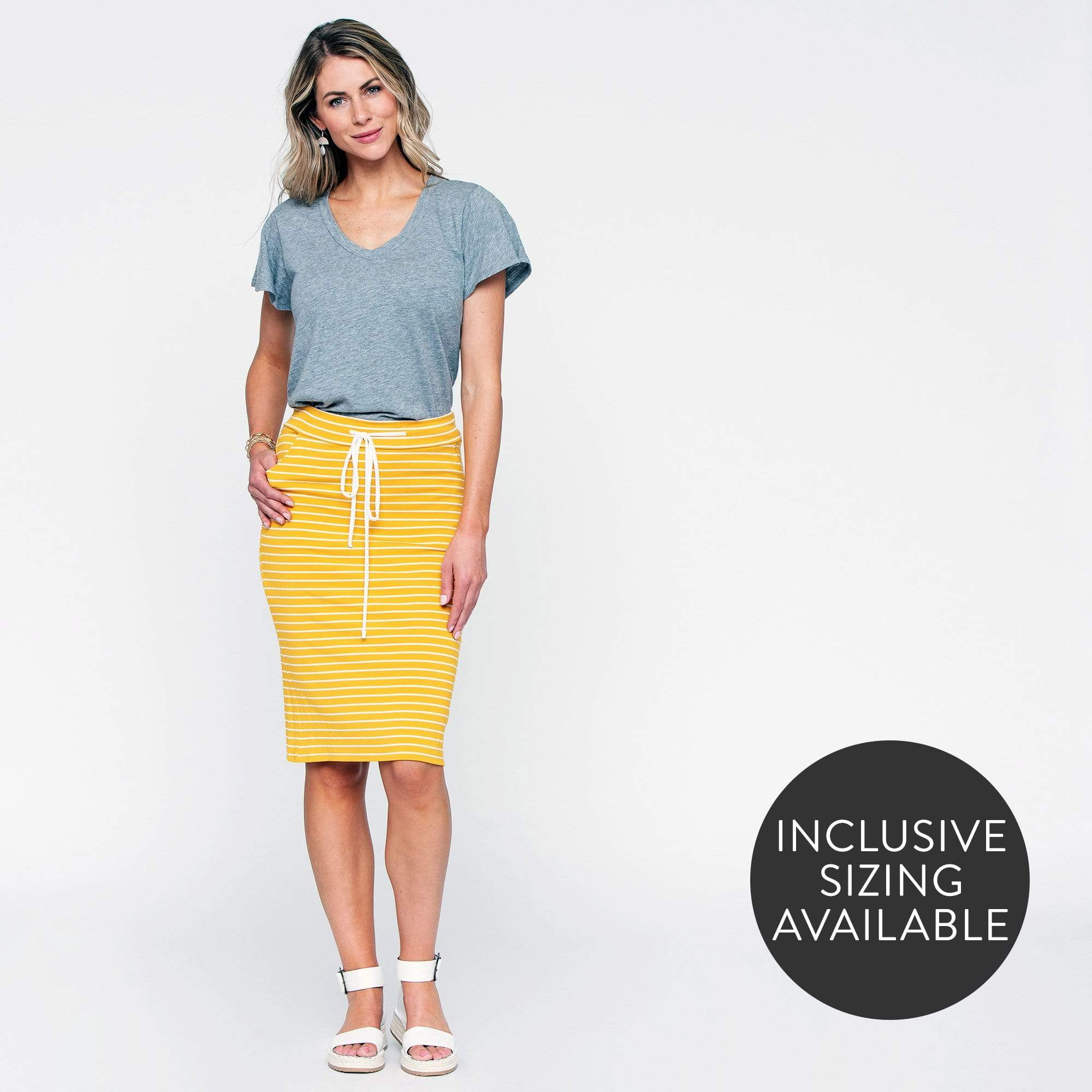 Drawstring Stripe Skirt