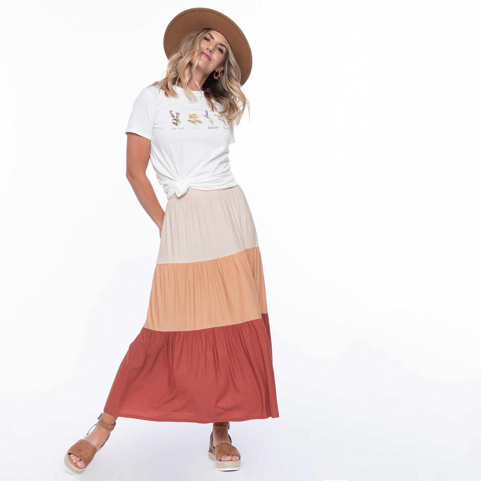Tiered Color Block Skirt