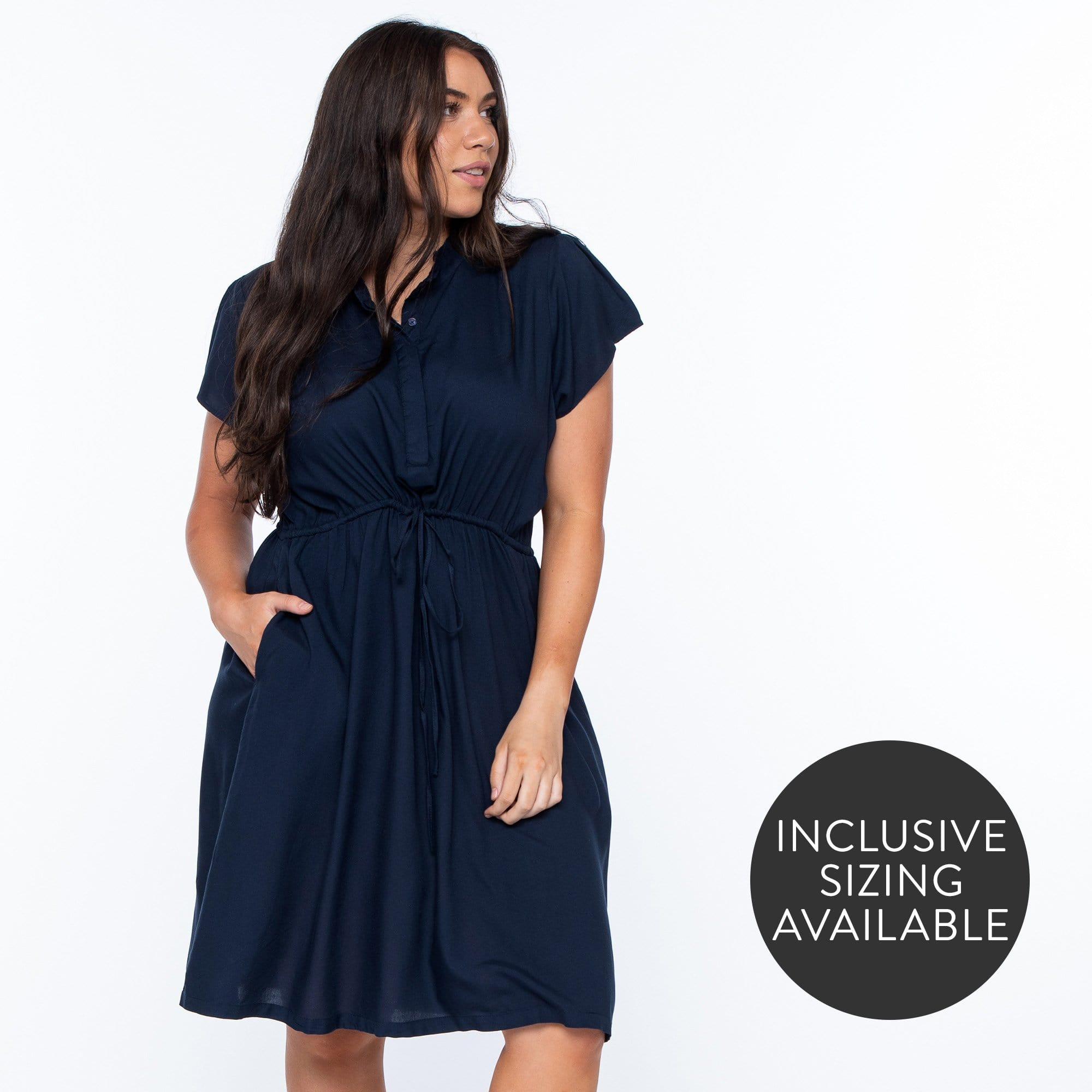 Button Front Drawstring Dress