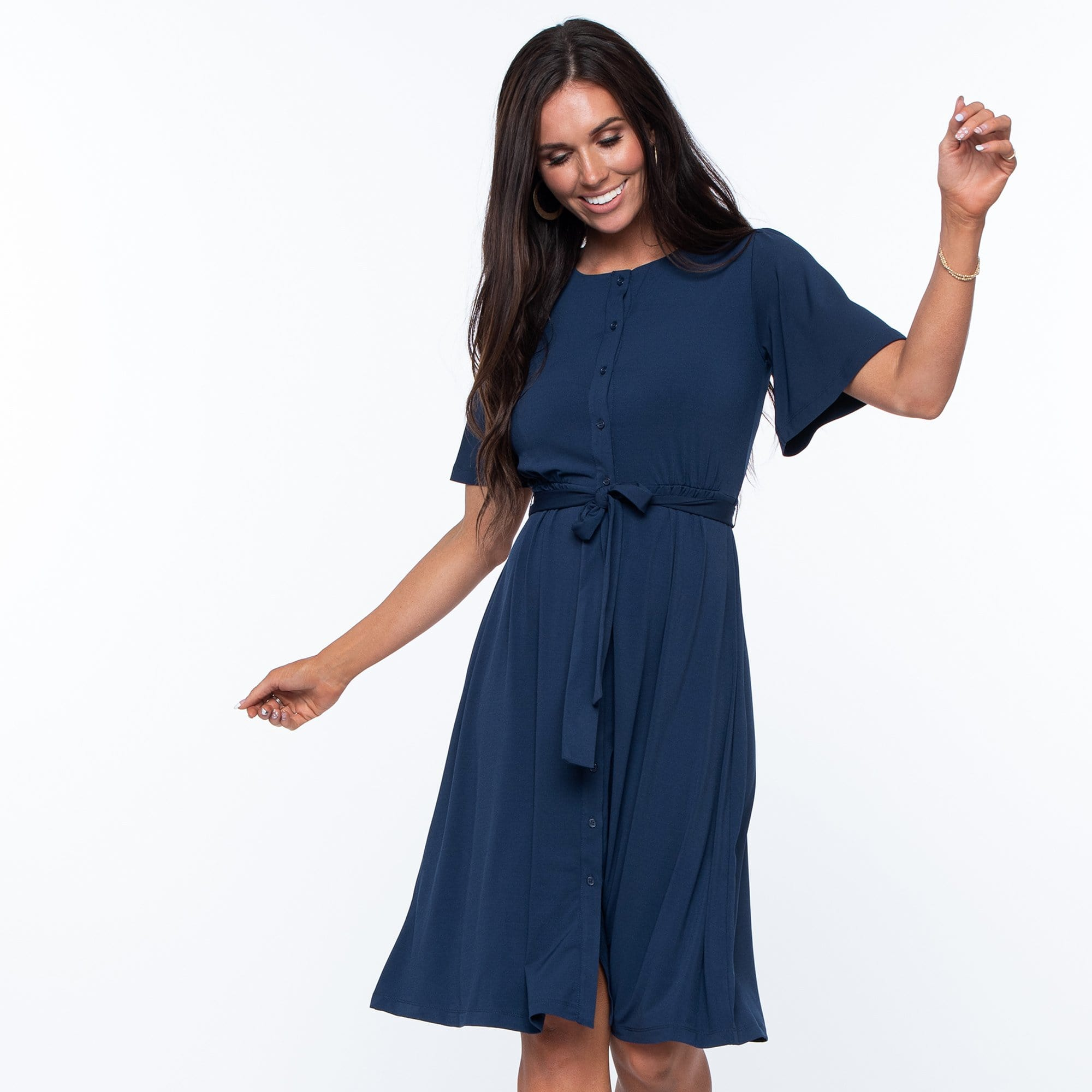 Belted Button Front Dress