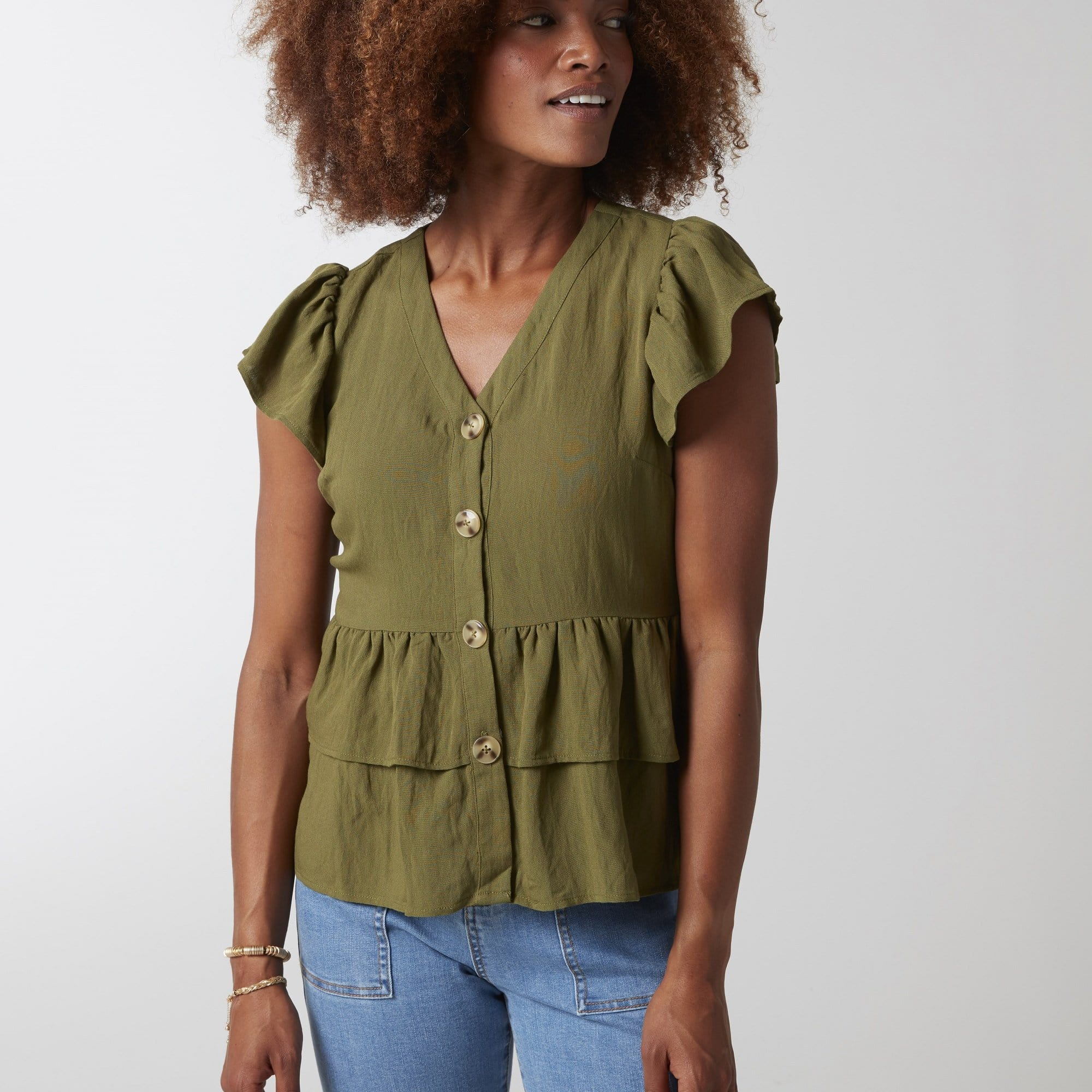 Button Down Tiered Top