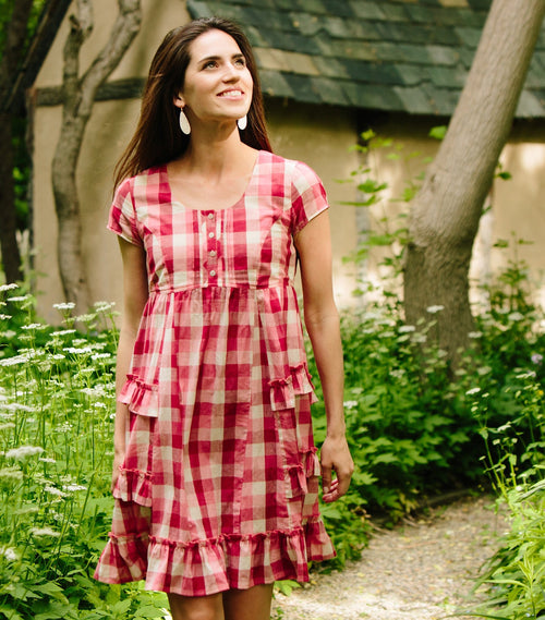 Short Sleeve Yarn Dye Cotton Check Babydoll Dress