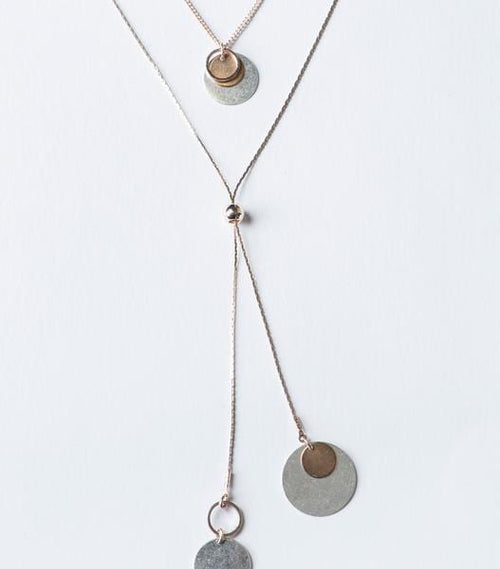 Mixed Metal Disc 2 Piece Necklace Set