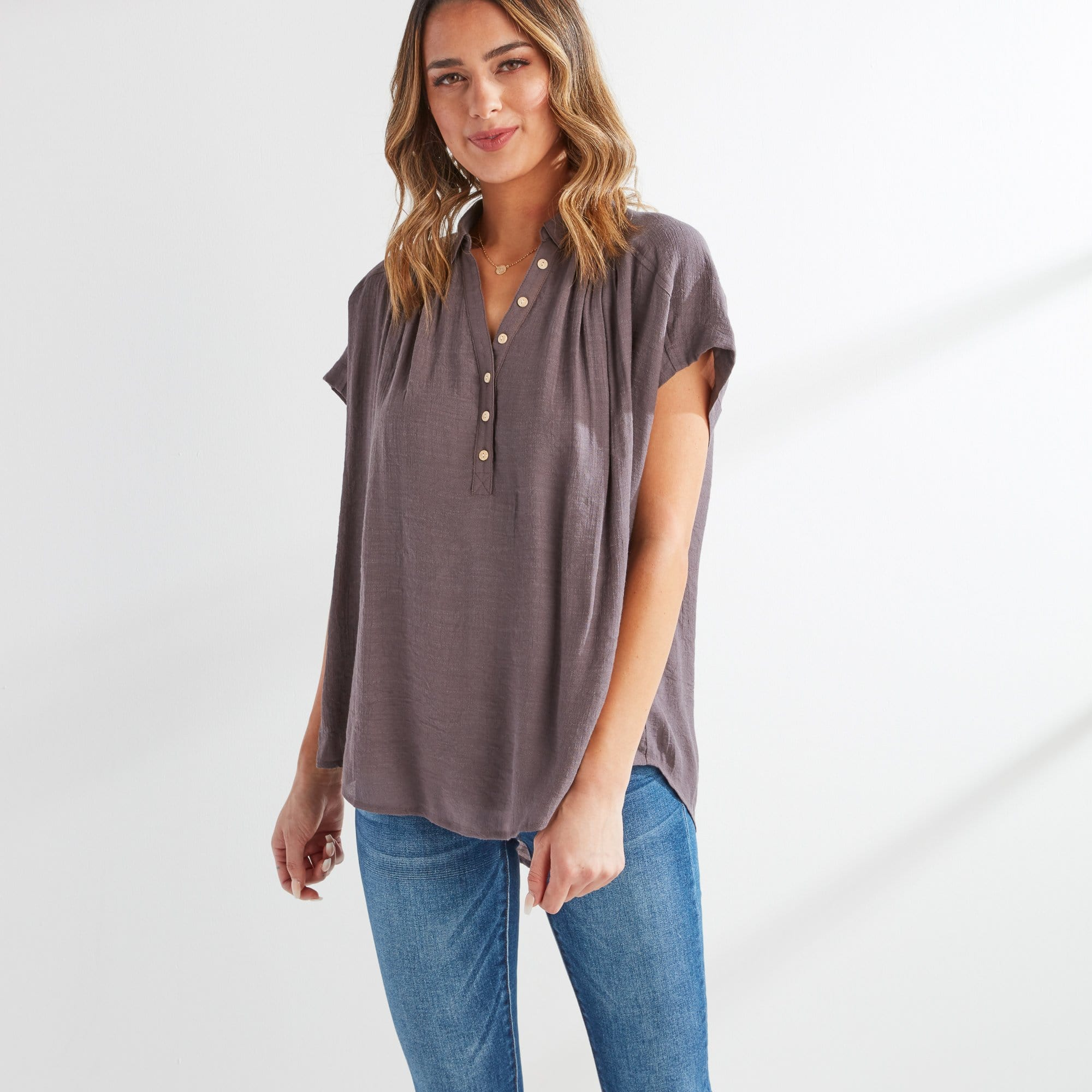 Dolman Button Top