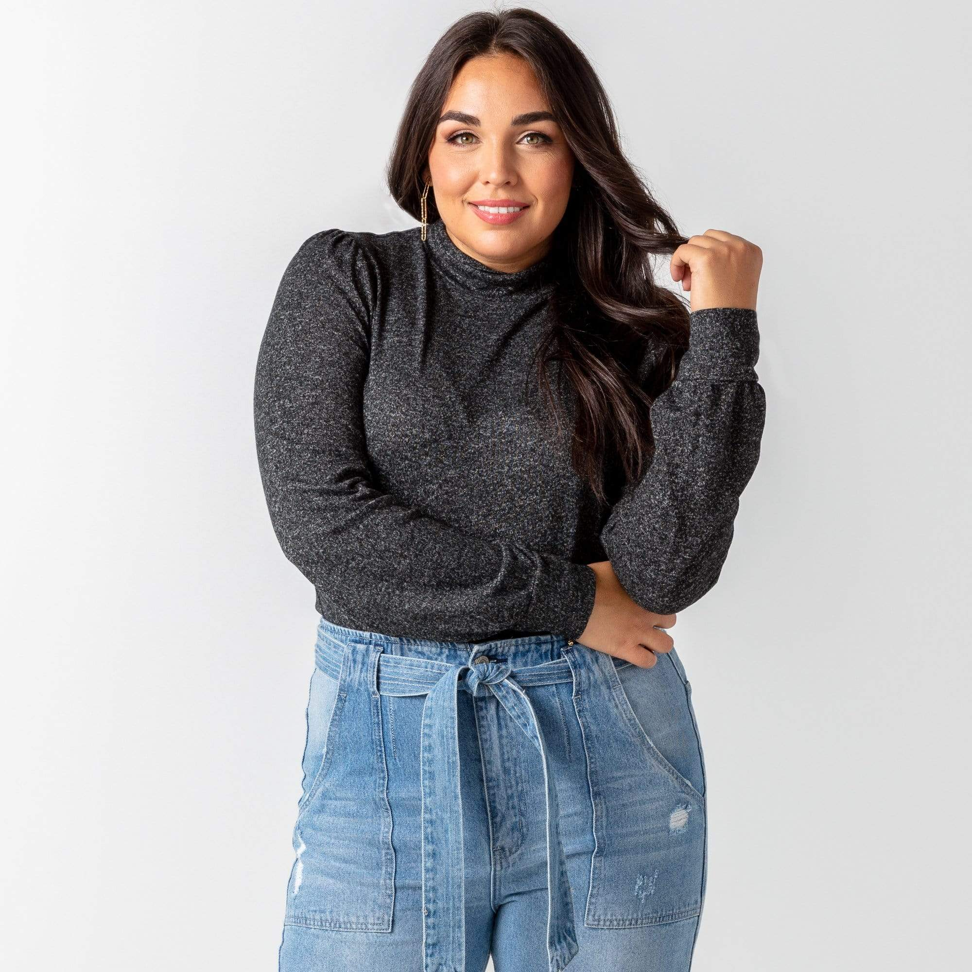 Puff Sleeve Turtle Neck Top
