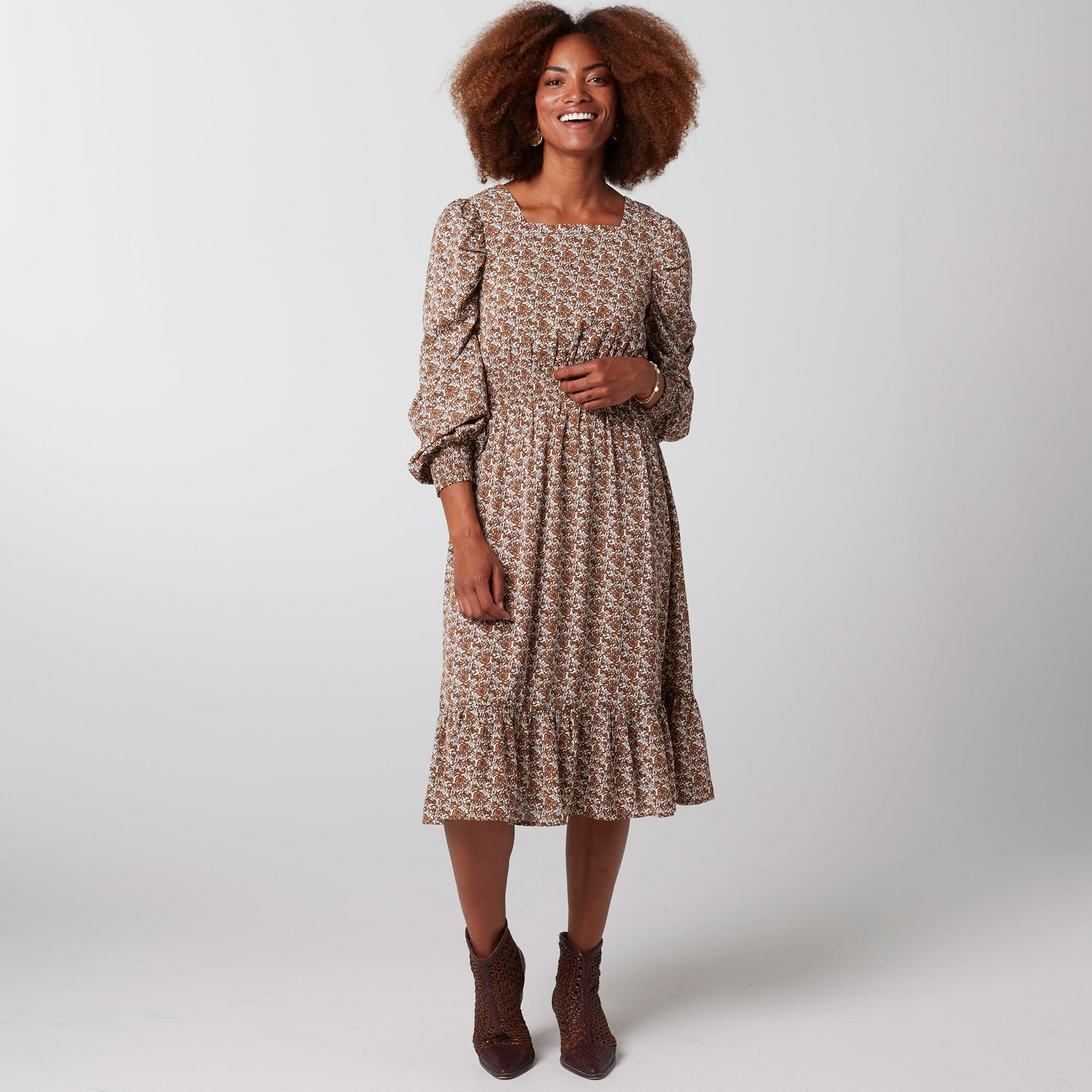 Square Neck Smocked Dress