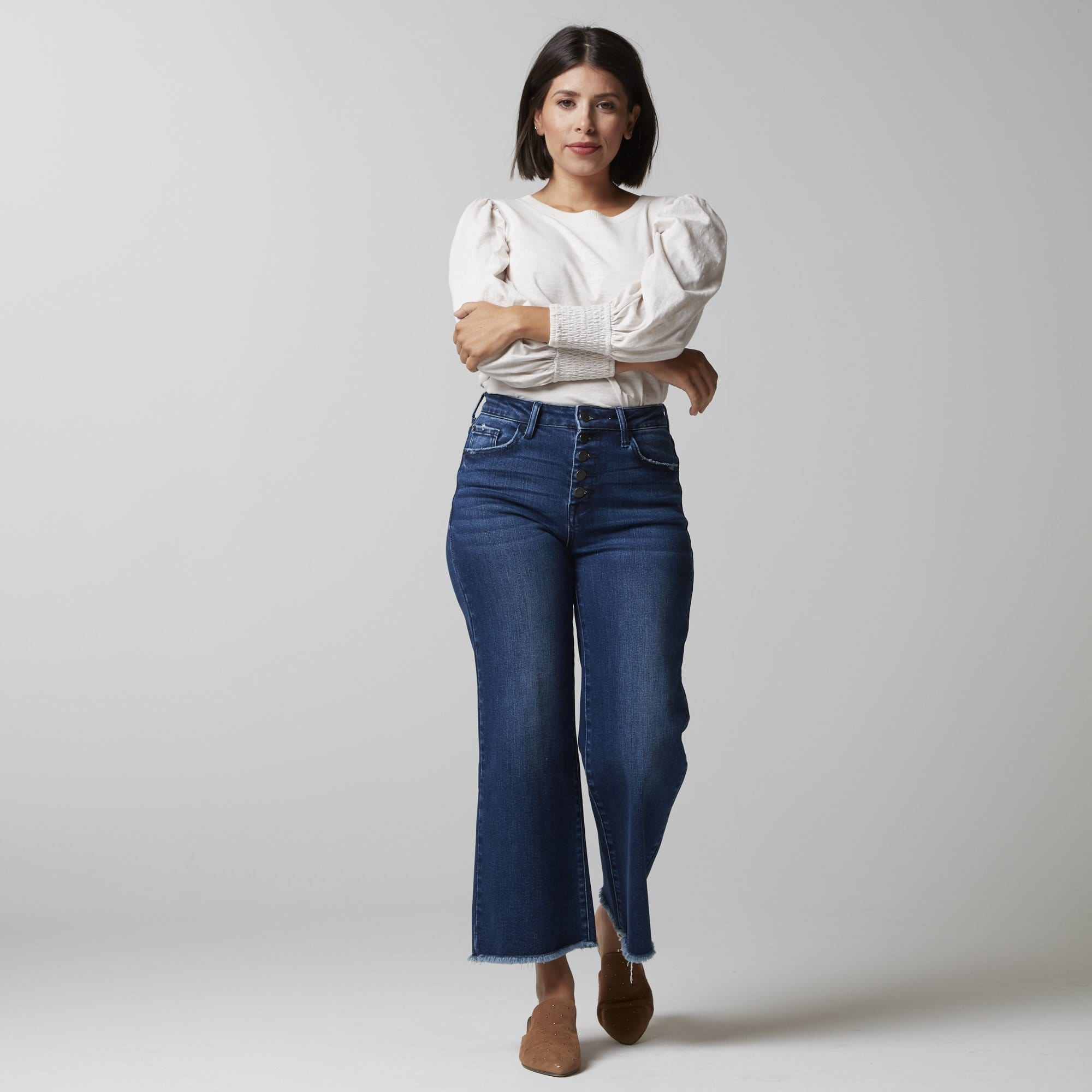Wide Leg Button Fly Denim