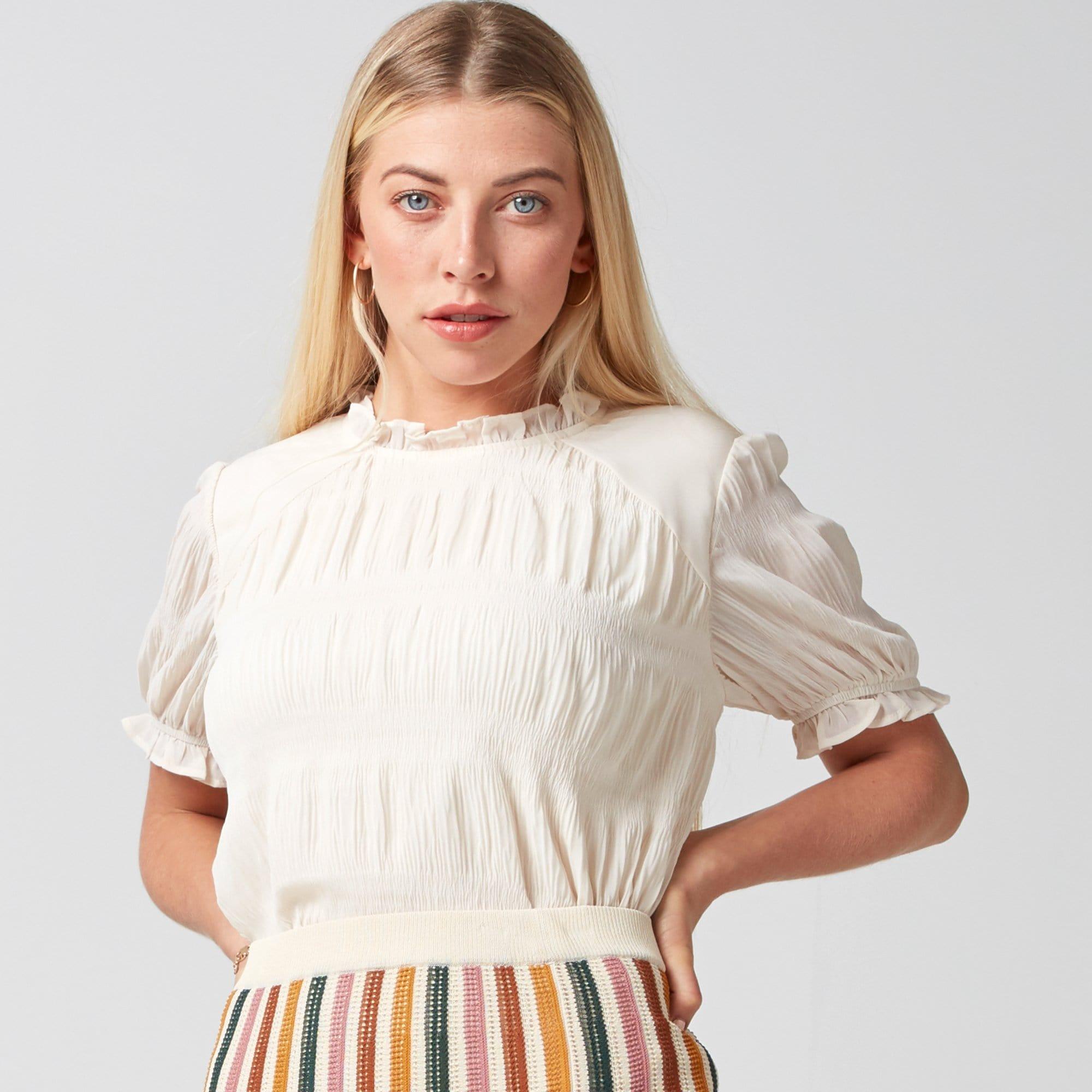 Shirred Stripe Top