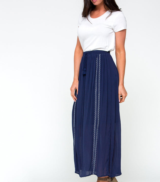 Elastic Waist Maxi Skirt with Embroidery