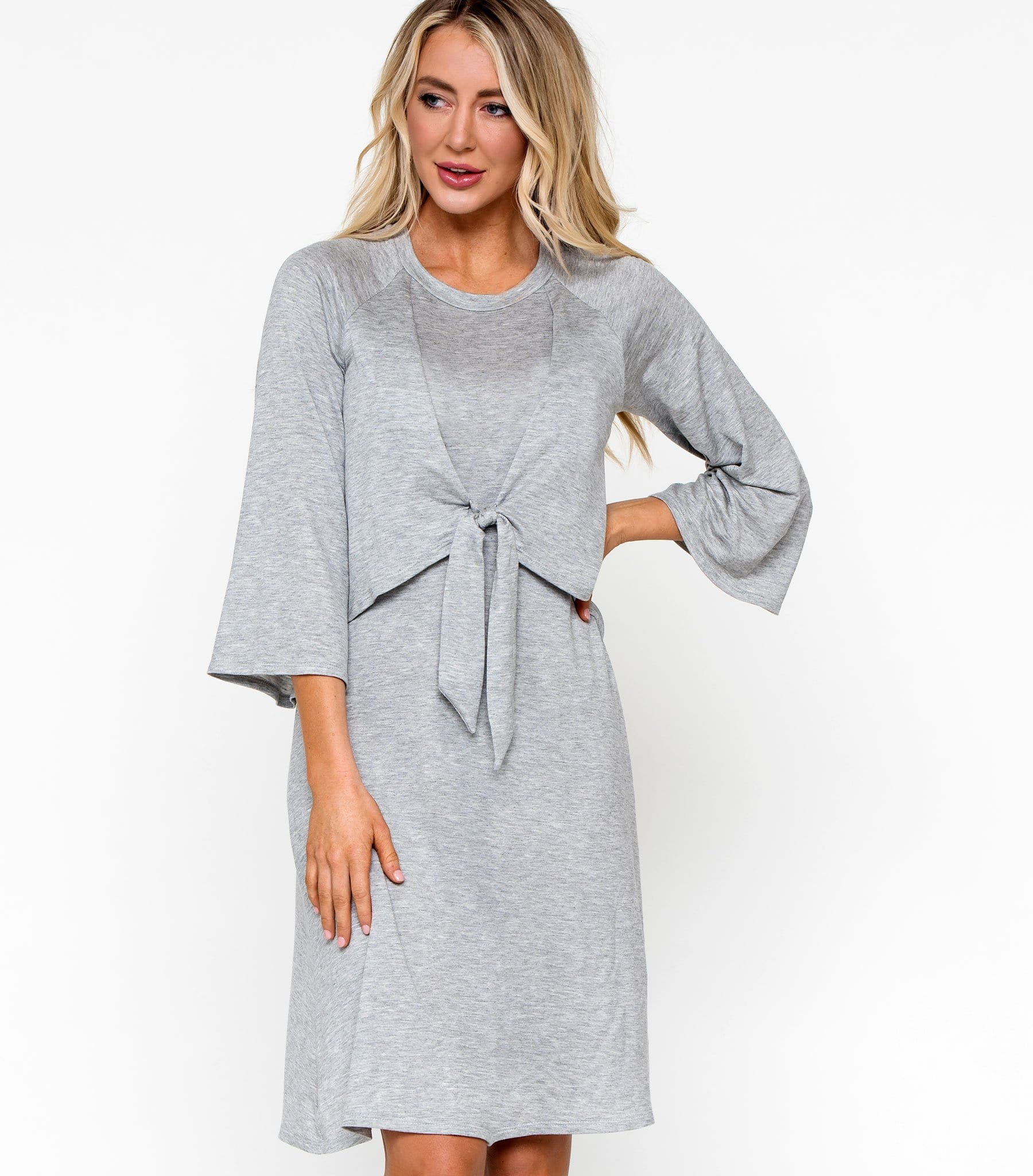 Knot Front Fleece Dress