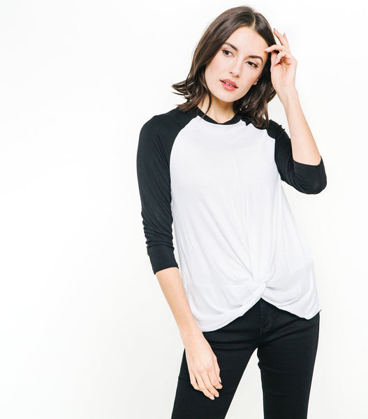 Knot Front Baseball Tee