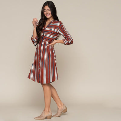 Stripe Button Front Dress