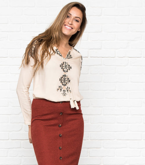 Embroidered Peasant Top with Drawstring
