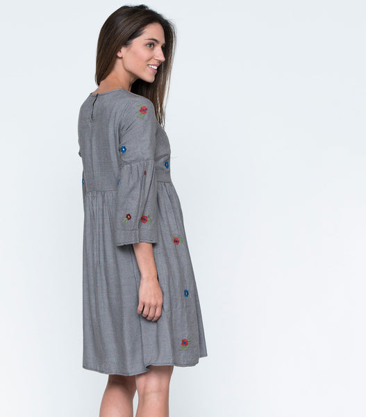 Flare Sleeve Mini Glen Plaid Dress with Embroidery