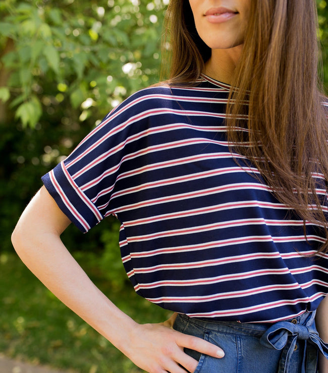 High-Low Hem Stripe Top