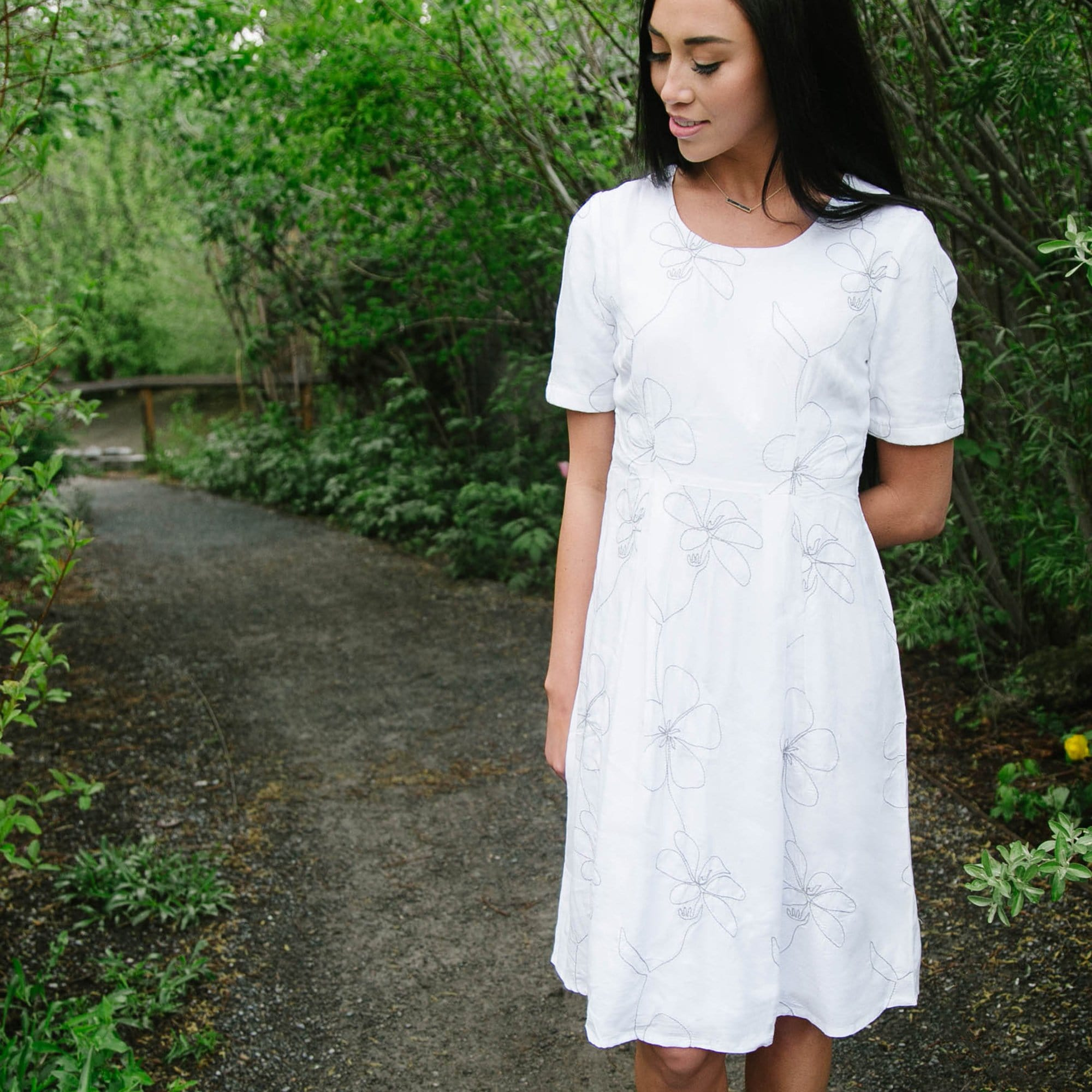 505530c6ba38 Short Sleeve Embroidered Dress - Downeast