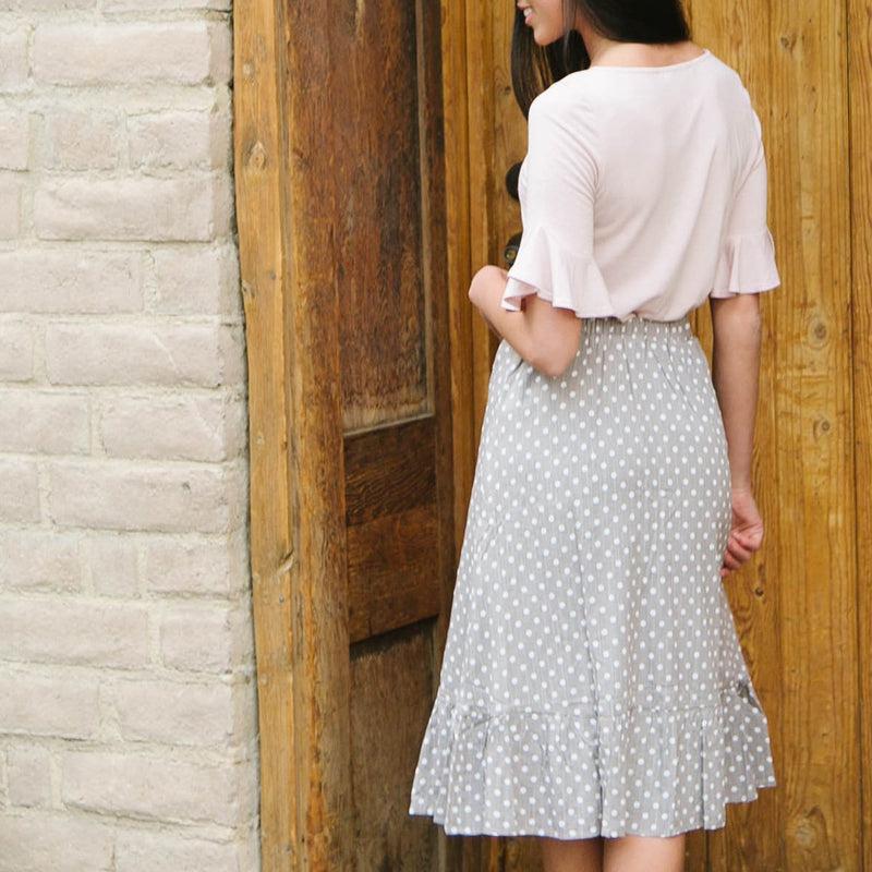 Smocked Waist Polka-Dot Skirt