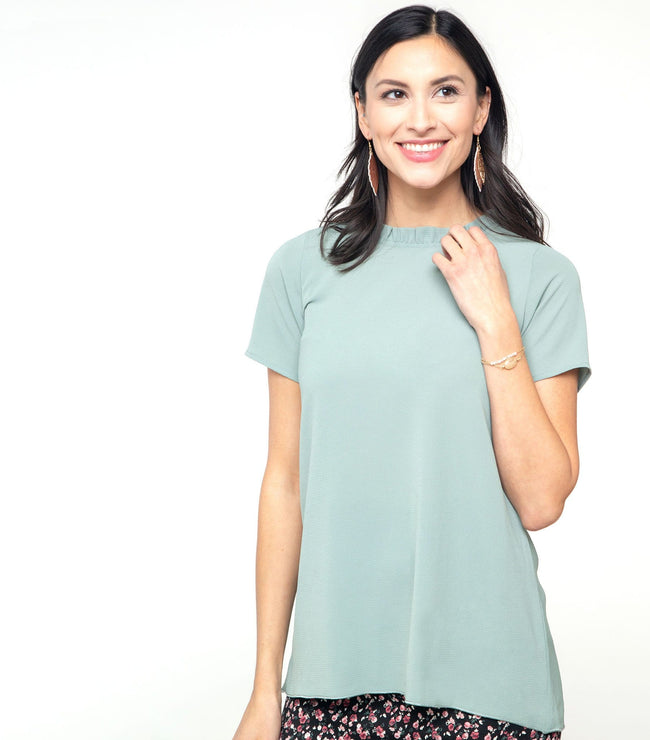 Ruffle Mock Neck Blouse