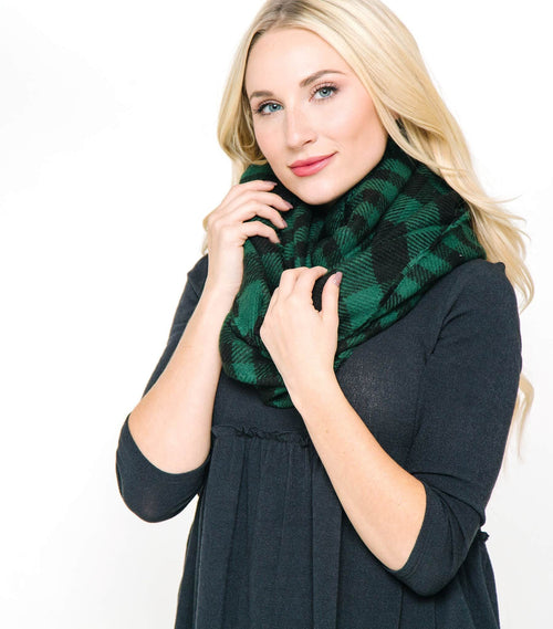 Reversible Gingham Checker Infinity Scarf