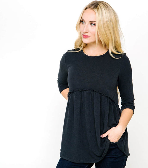 Soft 3/4 Sleeve Peplum Top